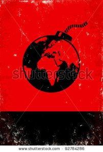 stock-vector-red-and-black-poster-with-bomb-and-the-globe-92784286